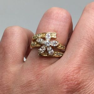 14k gold plated ring engagement wedding 5.5